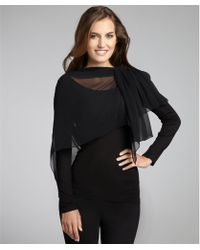Alice + Olivia Black Jersey Long Sleeve Chiffon Scarf Top black - Lyst
