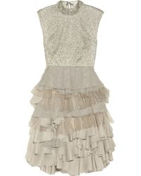 Alice + Olivia Hattie Beaded Lace and Chiffon Dress - Lyst