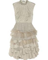 Alice + Olivia Hattie Beaded Lace And Chiffon Dress gray - Lyst