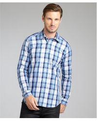 Etro Blue Plaid And Paisley Cotton Button Front Shirt - Lyst