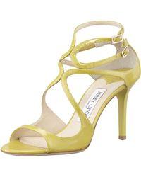 Jimmy Choo Ivette Patent Strappy Sandal Citrine - Lyst