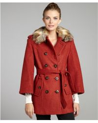 Laundry by Shelli Segal Burnt Orange Boiled Stretch Wool and Faux Fur Collar Belted Coat - Lyst