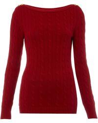 Lauren by Ralph Lauren - Cable Knit Jumper with Shoulder Button Detail - Lyst