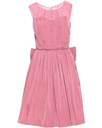 Nina Ricci Taffeta Dress with Lace and Bow Detail pink - Lyst