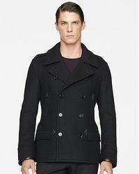 Ralph Lauren Black Label Modern Wool Melton Pea Coat - Lyst