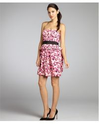 Vera Wang Lavender Fuchsia Poppy Print Cotton Twill Strapless Belted Peplum Dress pink - Lyst