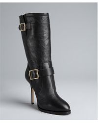 Jimmy Choo Black Leather Galen Midcalf Boots - Lyst