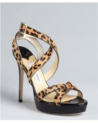 Jimmy Choo Leopard Calf Hair and Patent Leather Vamp Platform Sandals - Lyst
