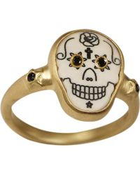 Me&Ro - Large Scrimshaw Skull Ring with Black Diamond Eyes - Lyst