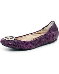 MICHAEL Michael Kors City Crackled Metallic Ballet Flat purple - Lyst