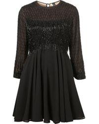 Topshop Beaded Fringe Flippy Dress - Lyst