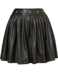Topshop Studded Pu Skirt By Rare black - Lyst