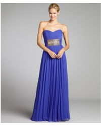 Notte by Marchesa Blueberry Silk Chiffon Strapless Embellished Center Gown - Lyst
