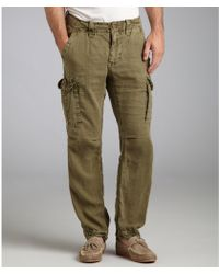 Tailor Vintage - Army Green Linen Cargo Trousers - Lyst