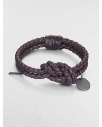 Bottega Veneta Intrecciato Leather Knot Bracelet - Lyst
