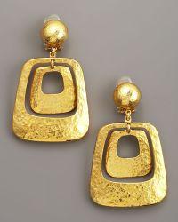 Jose & Maria Barrera Gold Hammered Earrings - Lyst