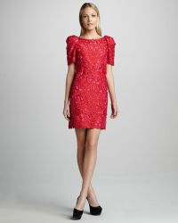 Marchesa Couture Puffsleeve Lace Dress - Lyst