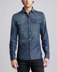 Balmain Studded Denim Shirt - Lyst
