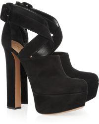 Alaïa Suede Cutout Ankle Boots - Lyst