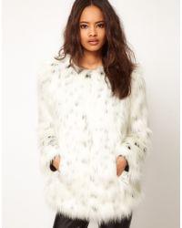 ASOS Collection Asos Snow Leopard Fur Coat white - Lyst