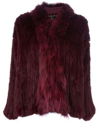 Elizabeth And James Rabbit Fur Coat red - Lyst