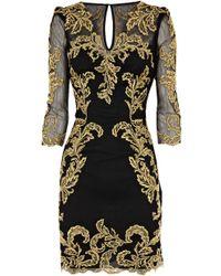 Karen Millen Baroque Mesh Dress black - Lyst