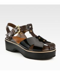 Marni Crisscross Patent Leather Platform Sandals - Lyst