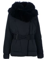 Moncler Fur Hooded Belted Jacket - Lyst