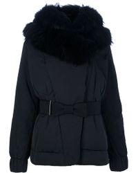 Moncler Fur Hooded Belted Jacket black - Lyst