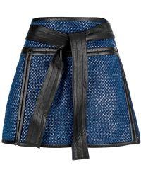 Proenza Schouler Woven Mini Skirt blue - Lyst
