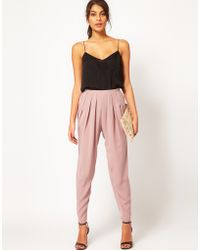 ASOS Collection High Waisted Peg Trouser pink - Lyst