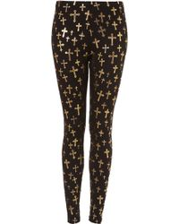 Topshop Foil Antique Cross Leggings - Lyst