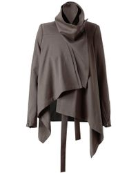 Ann Demeulemeester Wool Blend Draped Jacket - Lyst