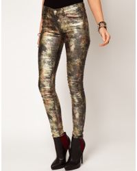 Asos Skinny Jeans in Metallic Camouflage Print - Lyst