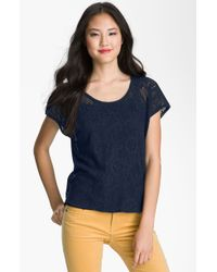 Lucky Brand Ginger Sheer Lace Top - Lyst