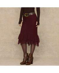 Ralph Lauren Blue Label Silk Georgette Valerie Skirt - Lyst