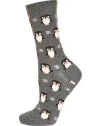 Topshop Grey Penguin Ankle Socks - Lyst