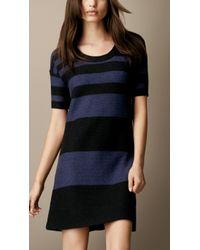 Burberry Brit - Cotton Linen Striped Dress - Lyst