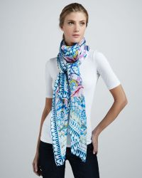 Roberto Cavalli Nausica Printed Silk Scarf - Lyst