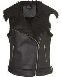 Topshop Sleeveless Faux Shearling Jacket black - Lyst