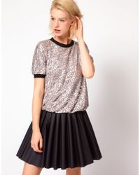 ASOS Collection - Top in Metallic Rose Print - Lyst