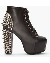 Jeffrey Campbell Black Leather Spiked Lita Boots - Lyst