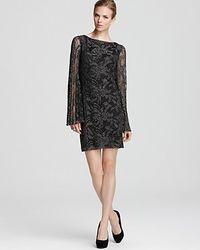 Laundry by Shelli Segal  Long Sleeve Metallic Lace Dress - Lyst