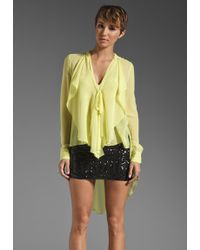 BCBGMAXAZRIA Ruffle Front Button Down Blouse yellow - Lyst