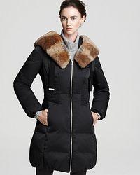 Elie Tahari Nina Down Coat with Fur Trim Shawl Collar - Lyst