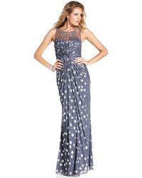 Adrianna Papell Sleeveless Pleated Beaded Metallicdot Gown - Lyst