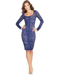 BCBGMAXAZRIA Longsleeve Lace Scoopneck Cocktail Dress - Lyst