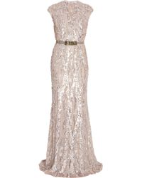 Elie Saab Fully Sequin Gown pink - Lyst