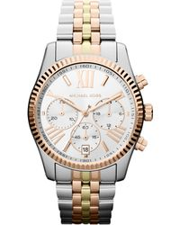 Michael Kors Midsize Silver Color Stainless Steel Lexington Chronograph Watch Golden - Lyst