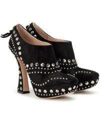 Miu Miu Studded Platform Ankle Boots black - Lyst